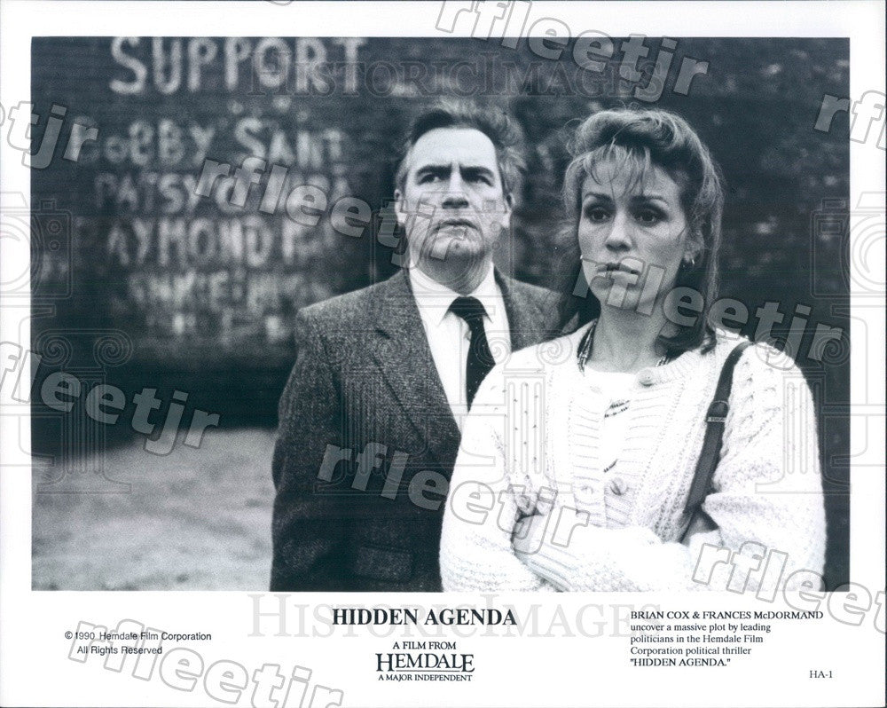 1990 Actors Brian Cox & Frances McDormand in Hidden Agenda Press Photo ady859 - Historic Images
