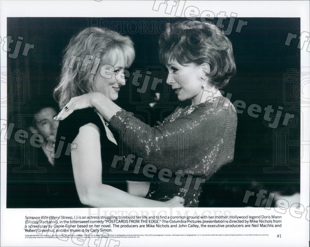 1990 Oscar Winning Actors Meryl Streep & Shirley MacLaine Press Photo ady87 - Historic Images