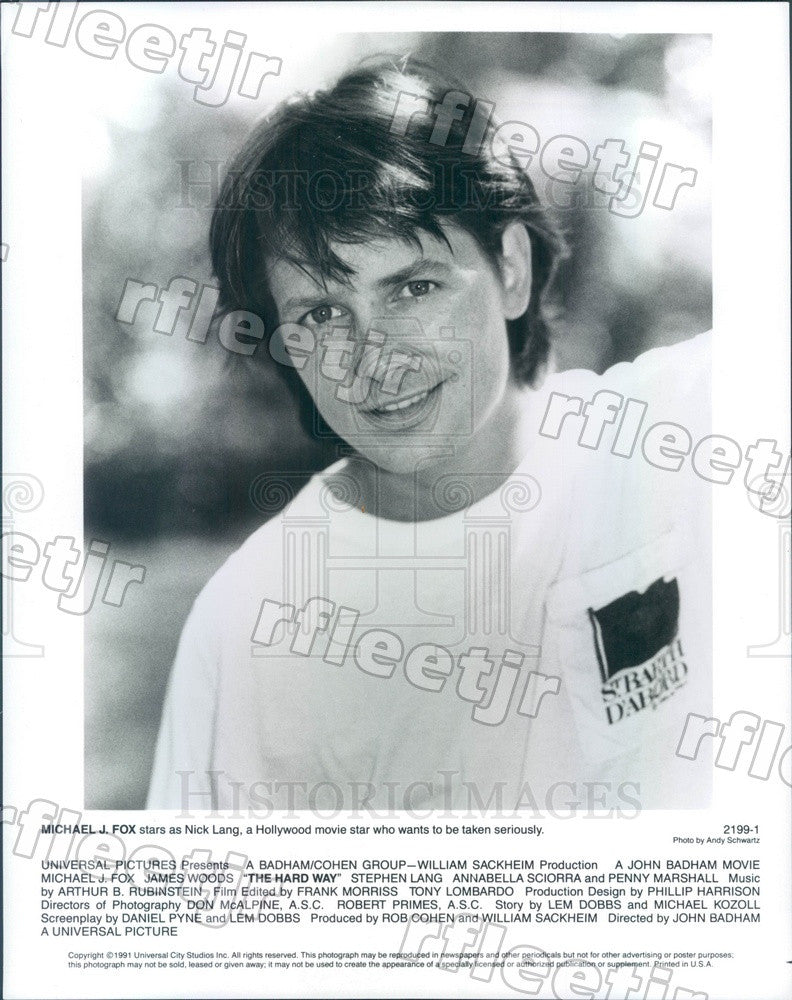 1991 Emmy Winning Actor Michael J Fox in Film The Hard Way Press Photo ady953 - Historic Images