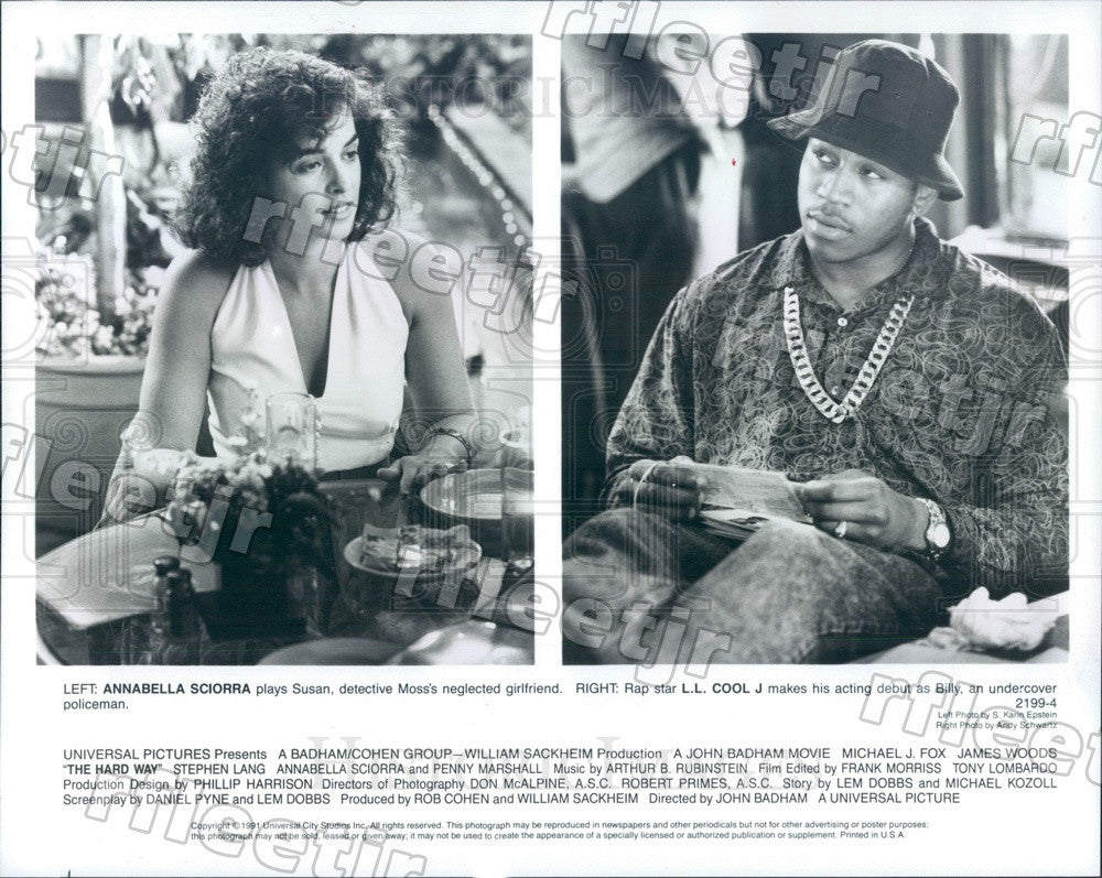 1991 Actors Annabella Sciorra, Grammy Winner LL Cool J Press Photo ady957 - Historic Images