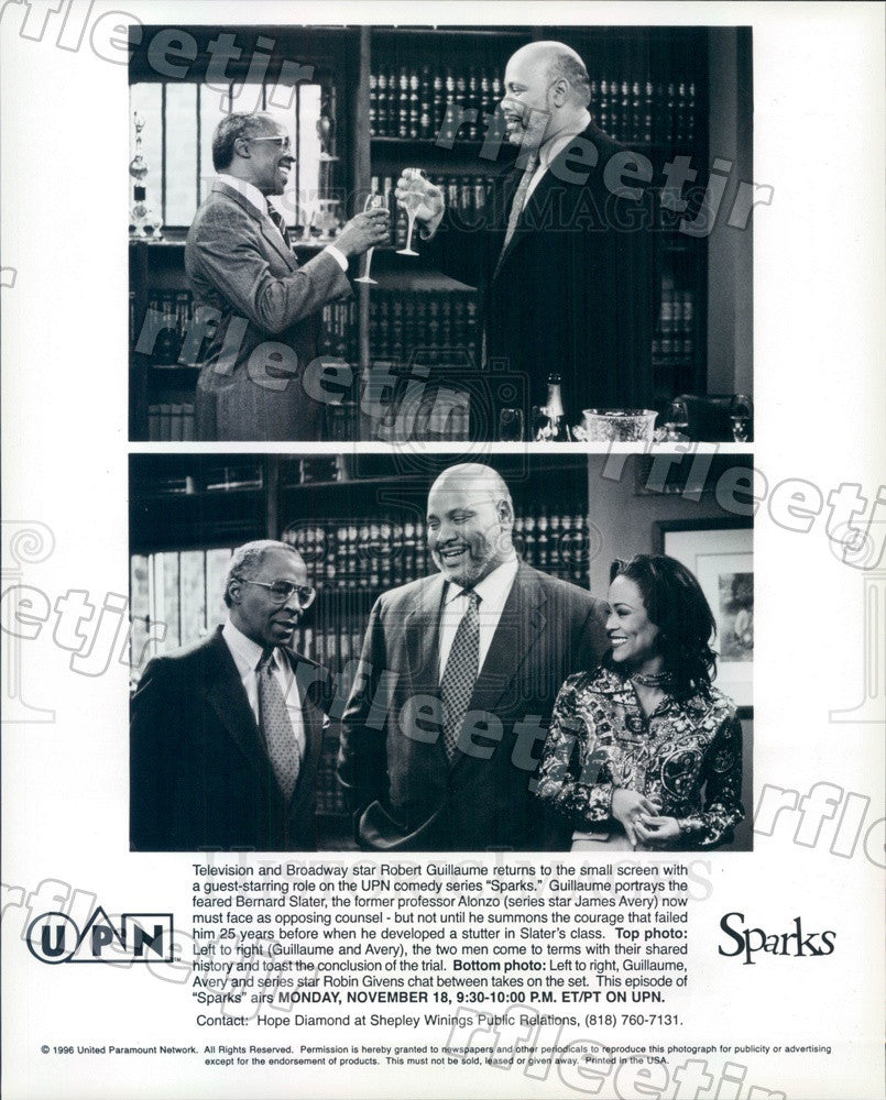 1996 Actors Robin Givens, James Avery, Robert Guillaume Press Photo adz123 - Historic Images