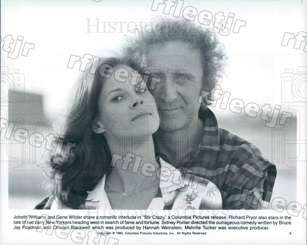 1980 Actors JoBeth Williams & Gene Wilder in Film Stir Crazy Press Photo adz317 - Historic Images
