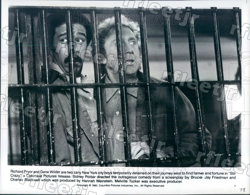 1980 Emmy Winning Actor Richard Pryor & Gene Wilder in Film Press Photo adz319 - Historic Images