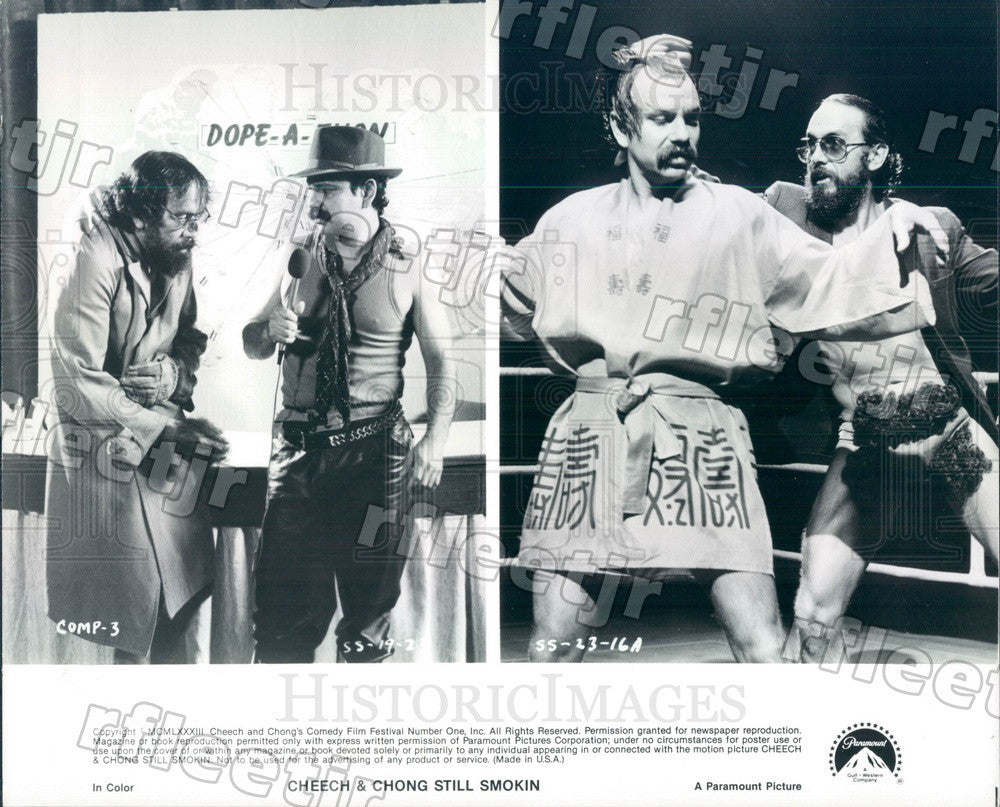 1983 Grammy Winning Comedians Cheech & Chong in Still Smokin Press Photo adz333 - Historic Images
