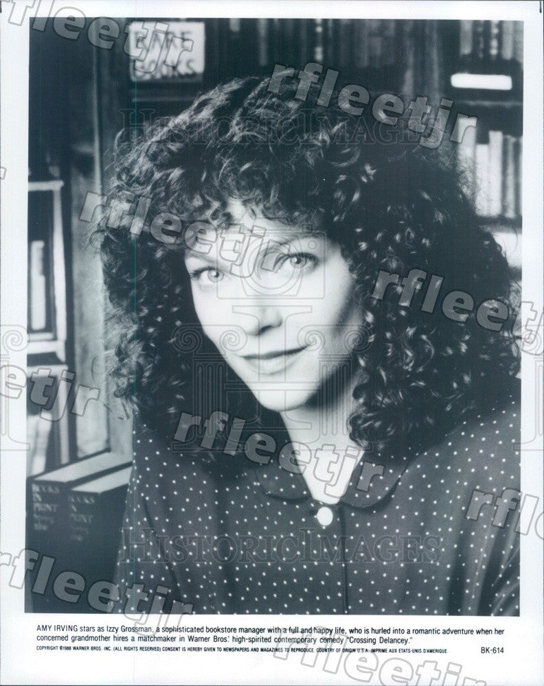 1988 American Actress Amy Irving in Film Crossing Delancey Press Photo adz341 - Historic Images
