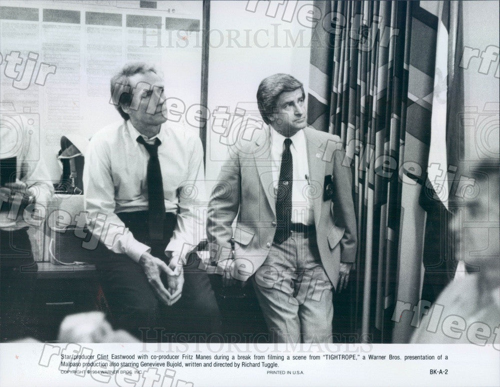 1984 Oscar Winning Actor Clint Eastwood & Producer Fritz Manes Press Photo adz35 - Historic Images