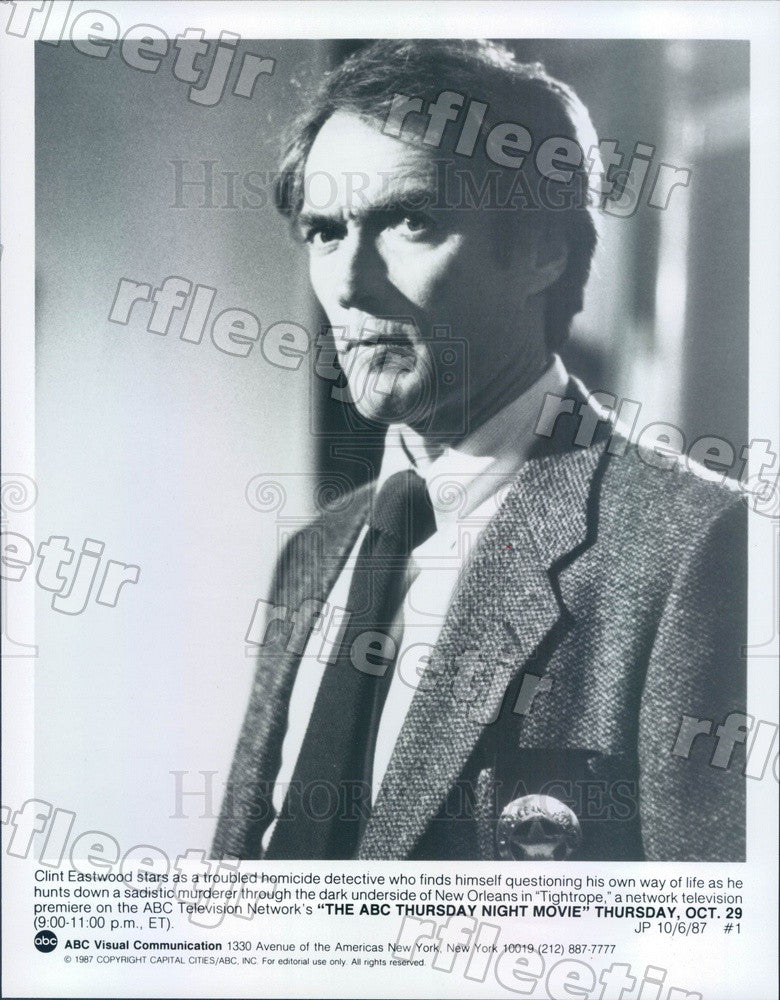 1987 Oscar Winning Actor Clint Eastwood in Film Tightrope Press Photo adz37 - Historic Images
