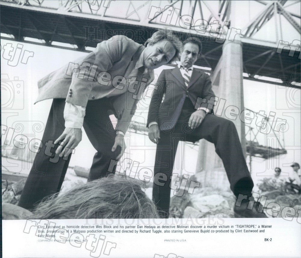 1984 Oscar Winning Actor Clint Eastwood & Dan Hedaya in Film Press Photo adz39 - Historic Images
