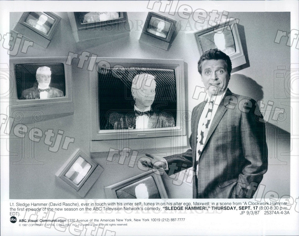 1987 American Actor David Rasche on TV Show Sledge Hammer! Press Photo adz417 - Historic Images