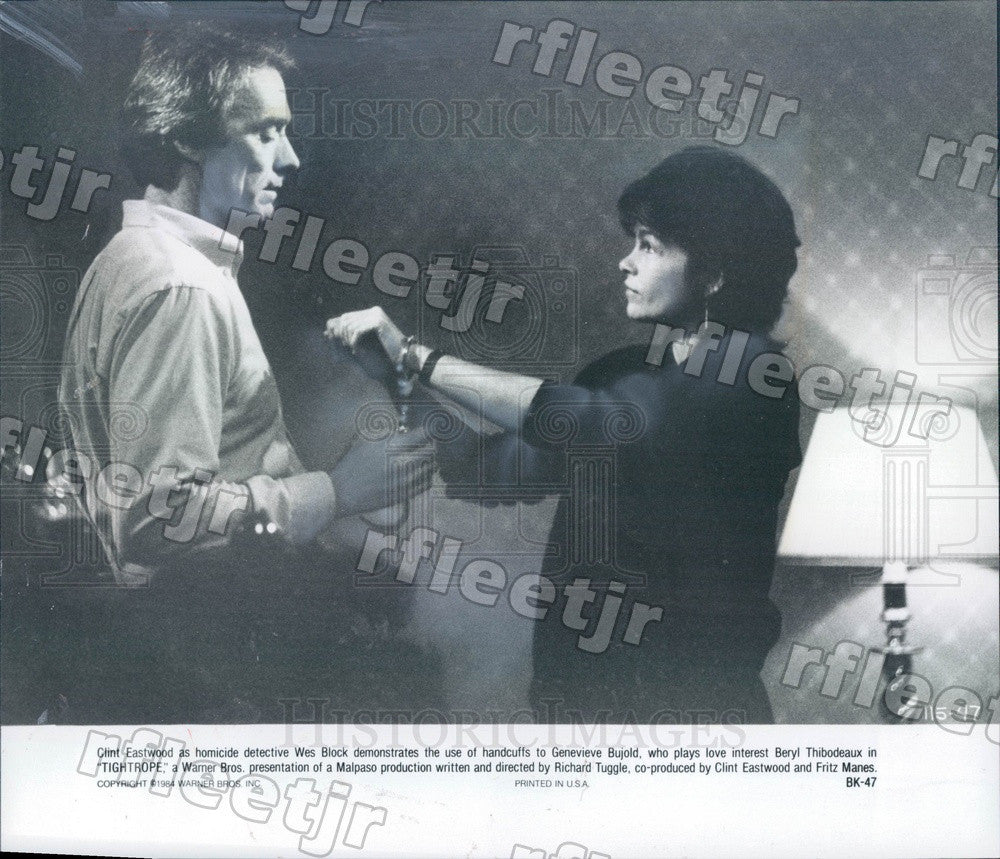 1984 Oscar Winning Actor Clint Eastwood & Genevieve Bujold Press Photo adz43 - Historic Images