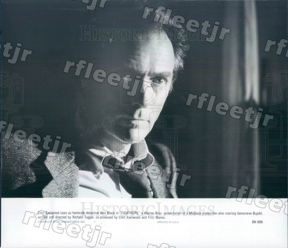 1984 Oscar Winning Actor Clint Eastwood in Film Tightrope Press Photo adz45 - Historic Images