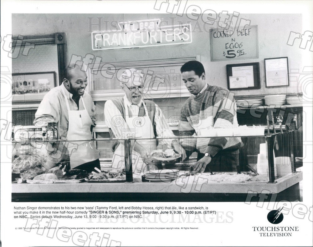 1990 Actors Harold Gould, Bobby Hosea, Tommy Ford on TV Show Press Photo adz487 - Historic Images