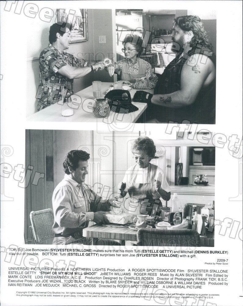 1992 Actors Sylvester Stallone, Estelle Getty, Dennis Burkley Press Photo adz509 - Historic Images