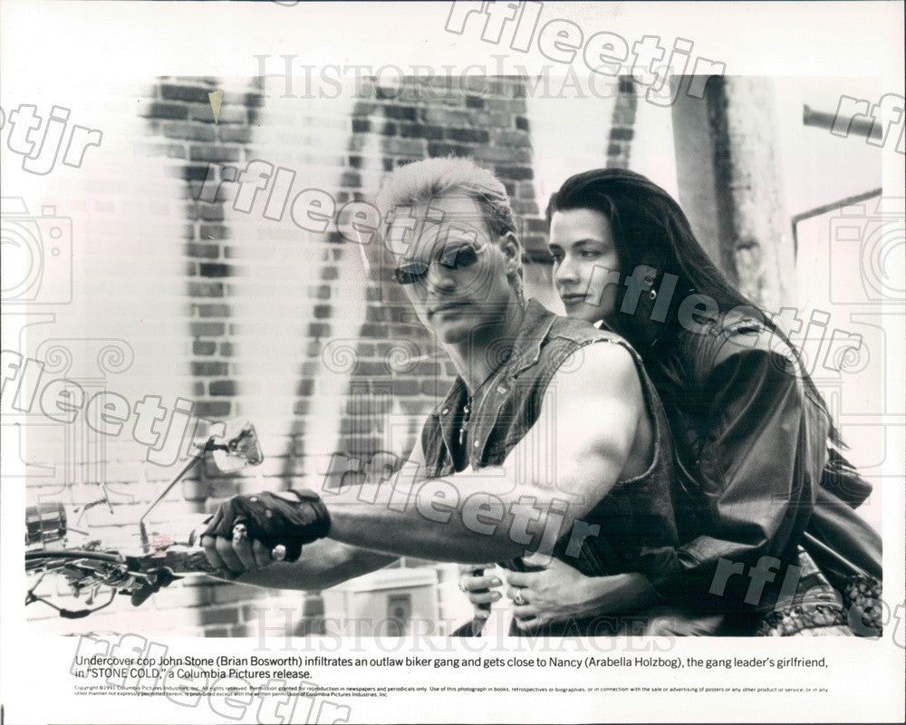 1991 Actors Brian Bosworth & Arabella Holzbog in Stone Cold Press Photo adz513 - Historic Images