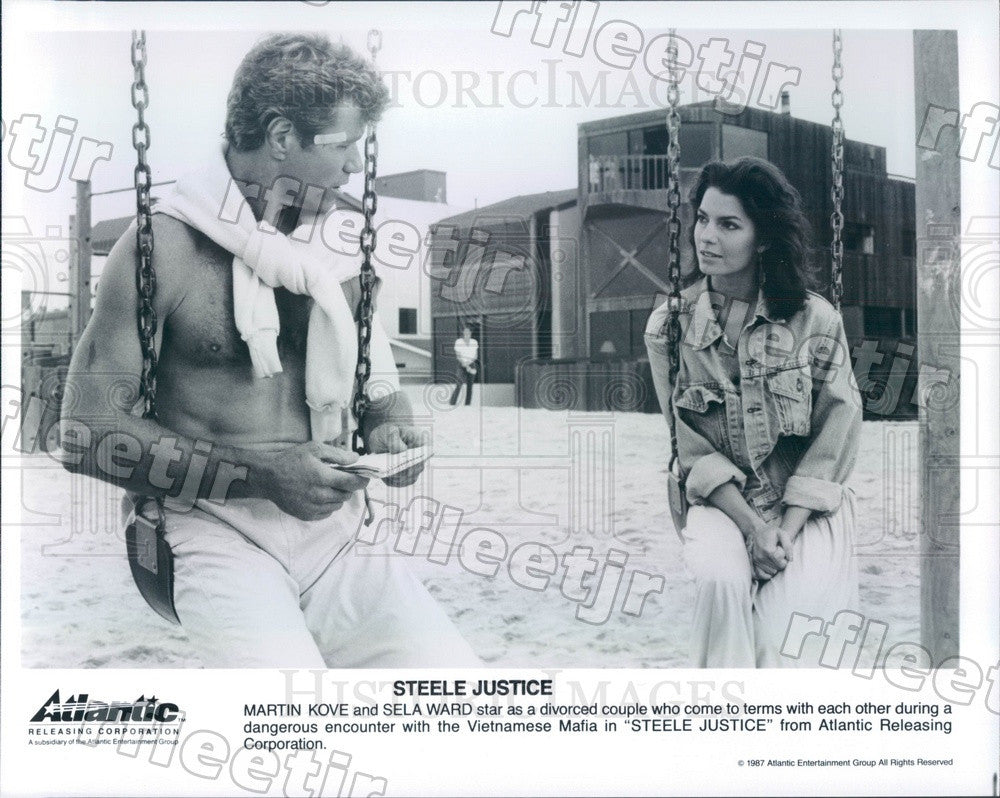 1987 Actors Martin Kove & Emmy Winner Sela Ward in Film Press Photo adz533 - Historic Images