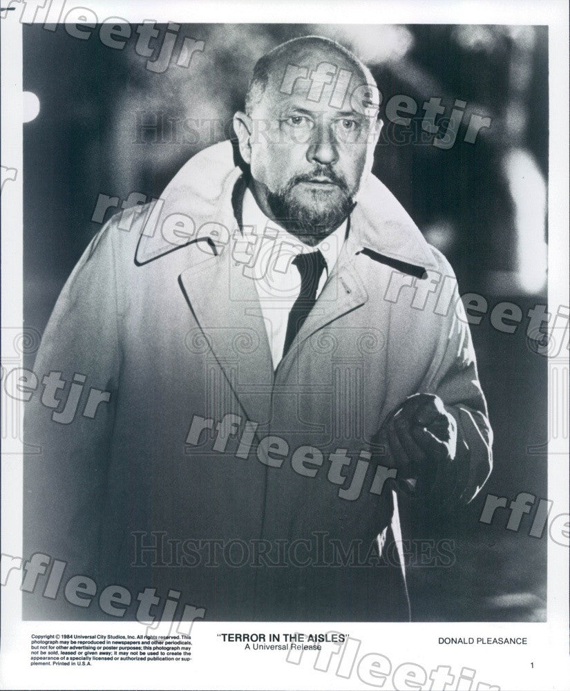 1984 British Actor Donald Pleasance in Terror In The Aisles Press Photo adz537 - Historic Images