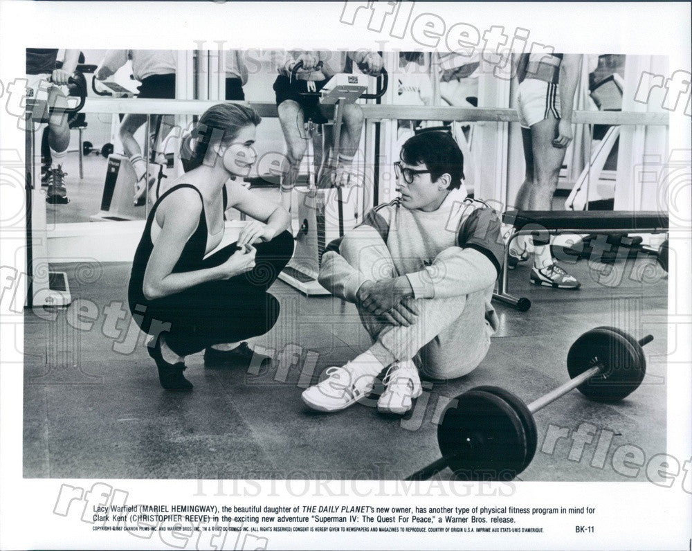 1987 Actors Christopher Reeve & Mariel Hemingway in Superman Press Photo adz549 - Historic Images