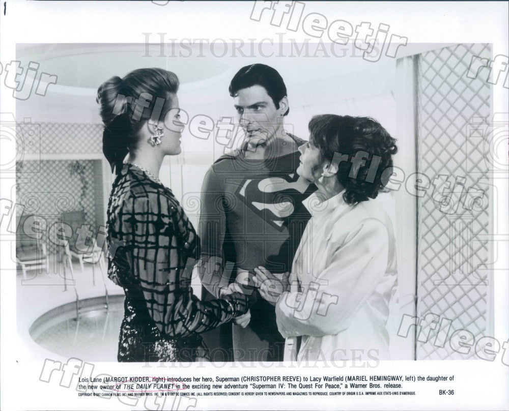 1987 Actor Christopher Reeve, Margot Kidder, Mariel Hemingway Press Photo adz553 - Historic Images