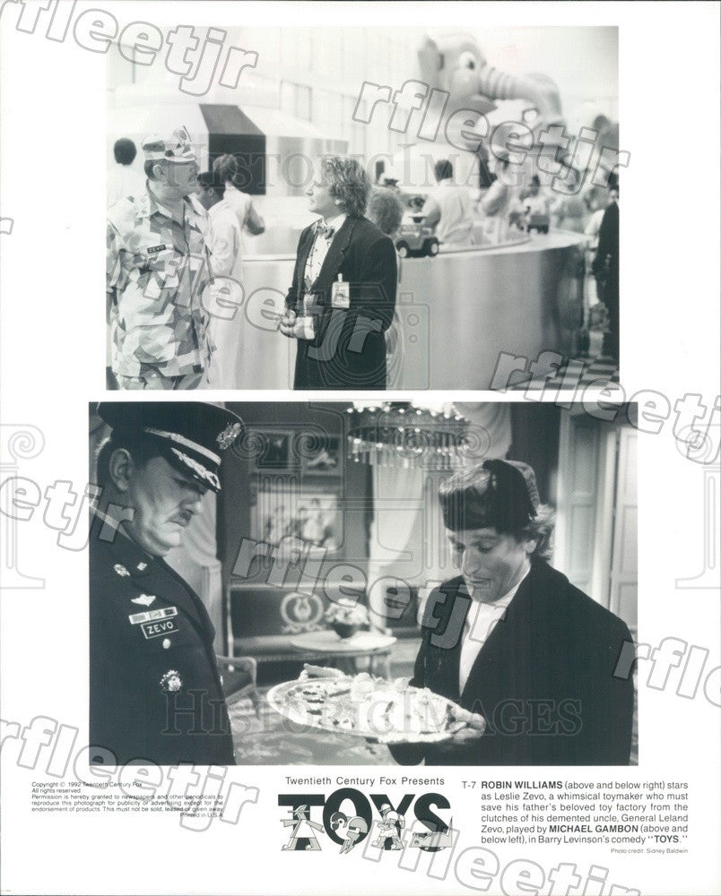 1992 Actors Robin Williams & Michael Gambon in Film Toys Press Photo adz59 - Historic Images