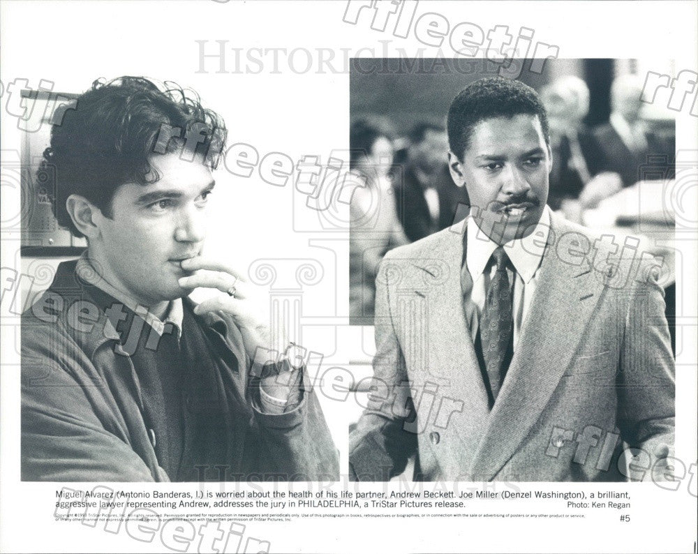 1993 Actors Denzel Washington & Antonio Banderas Press Photo adz69 - Historic Images