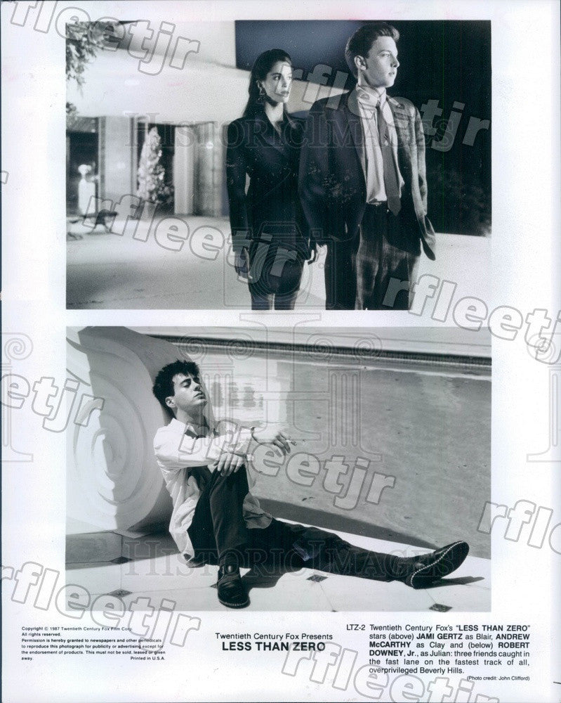 1987 Actors Robert Downey Jr, Jami Gertz, Andrew McCarthy Press Photo adz7 - Historic Images