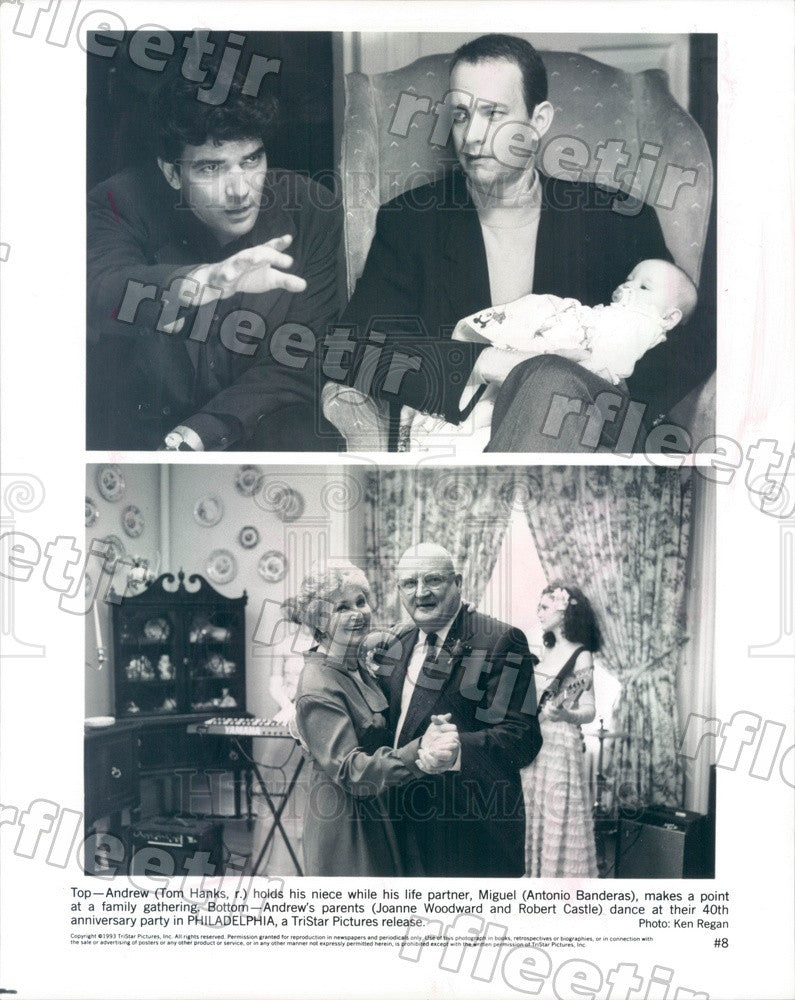 1993 Actors Tom Hanks, Antonio Banderas, Joanne Woodward Press Photo adz71 - Historic Images