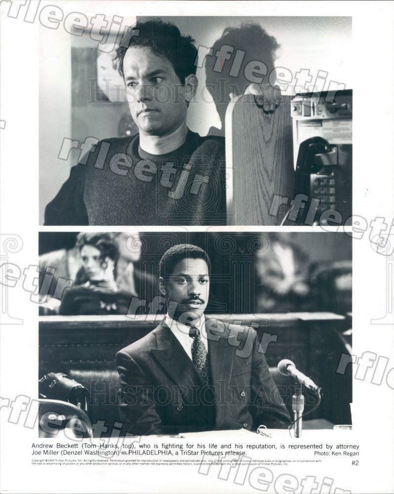 1993 Oscar Winning Actors Denzel Washington & Tom Hanks Press Photo adz73 - Historic Images