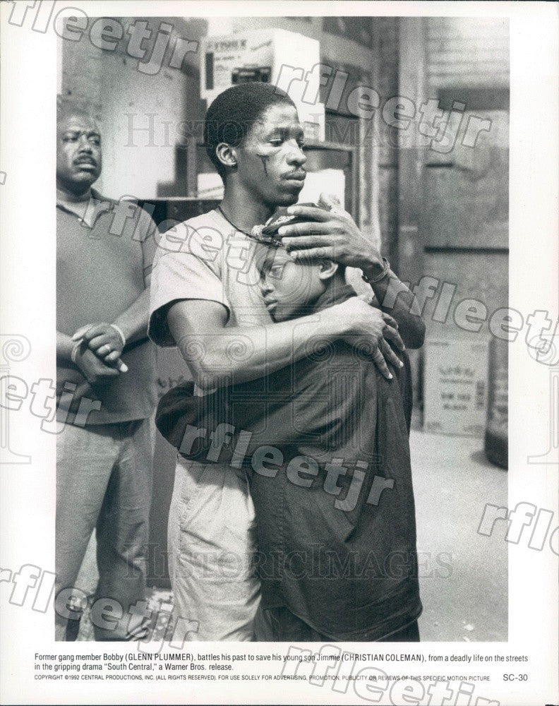 1992 Actors Glenn Plummer & Christian Coleman in South Central Press Photo adz95 - Historic Images
