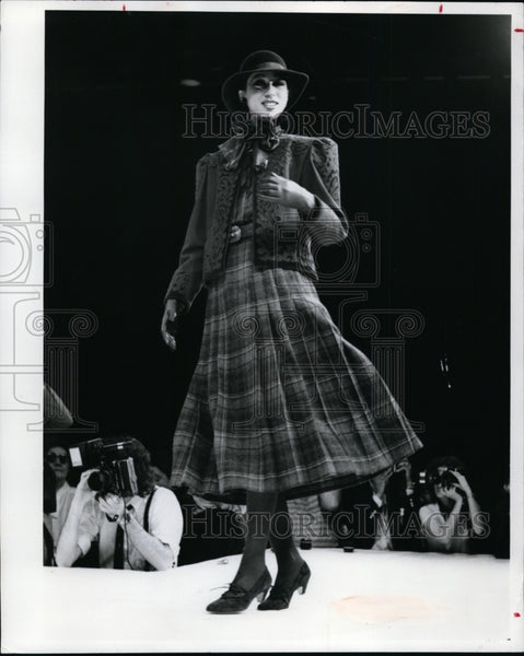 Press Photo Regal suit with pleated wool skirt of emboridural neckline jacket - Historic Images
