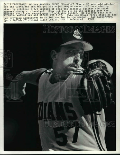 1990 Press Photo Jeff Shaw in his major league debut in Cleveland Ohio - Historic Images