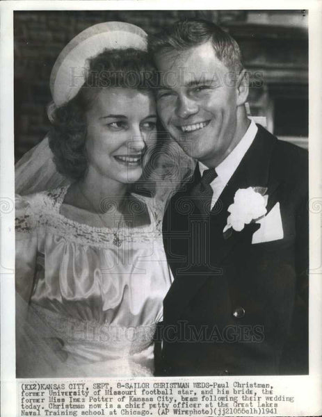 1941 Press Photo Paul Christman Inez Potter Wedding - Historic Images