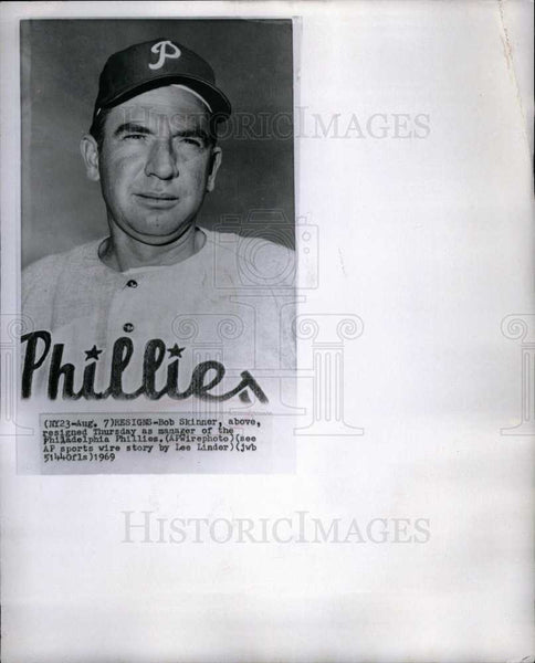 1969 Press Photo Bob Skinner Philadelphia Phillies - Historic Images