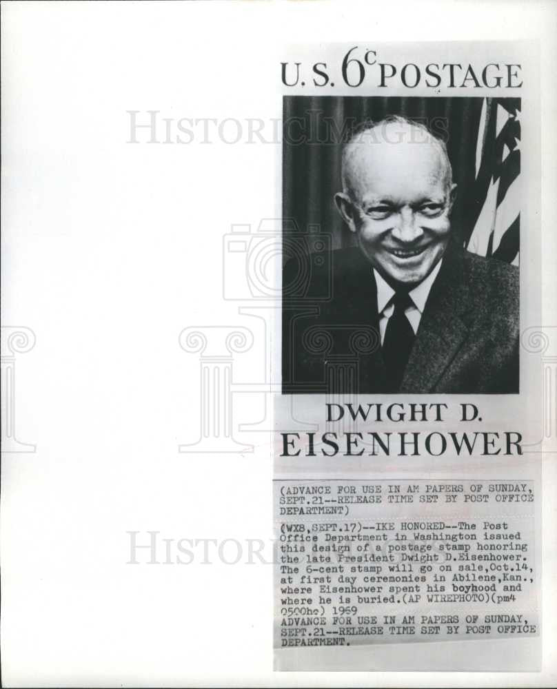 1969 Press Photo Eisenhower Stamp