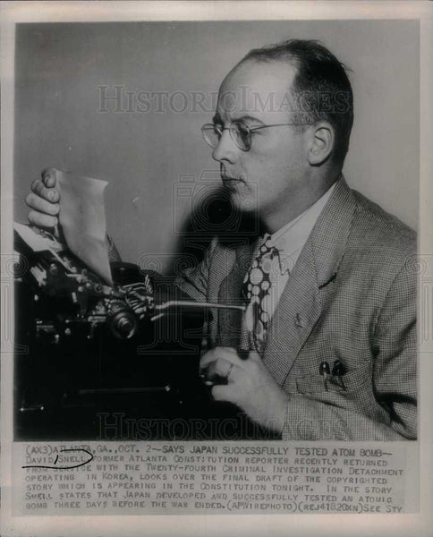 1946 Press Photo David Snell reporter cartoonist - Historic Images