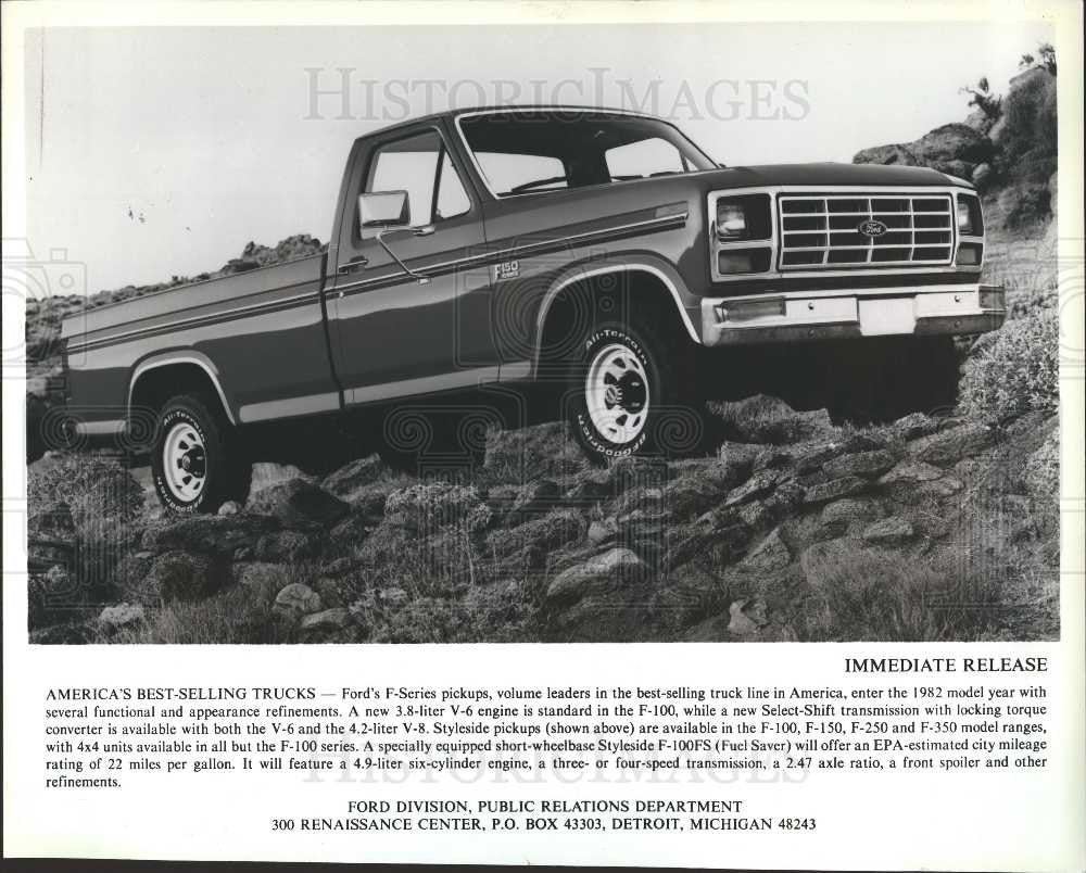 1982 press photo ford f series pickups trucks historic images