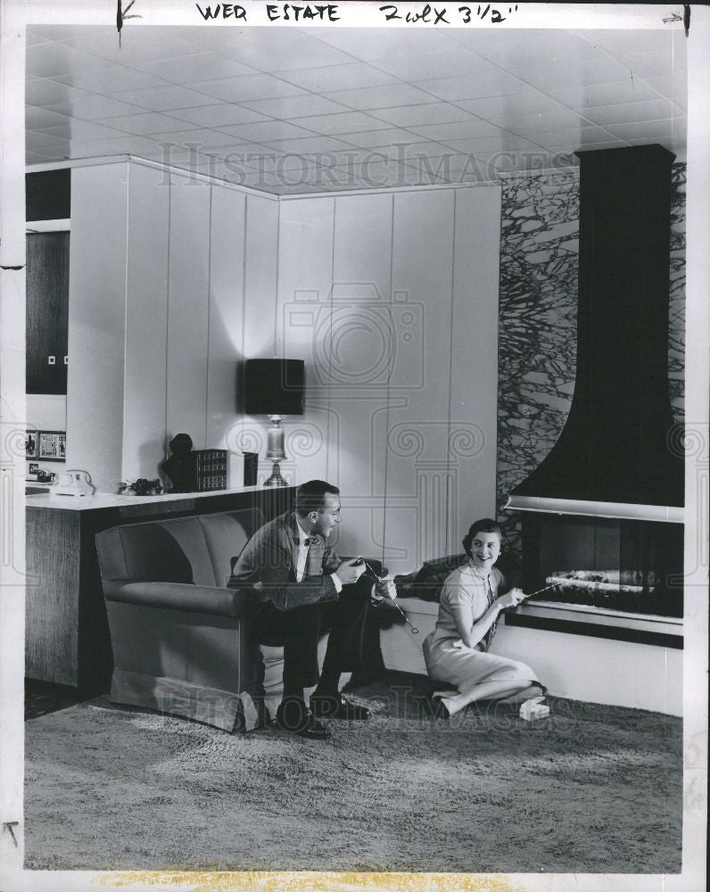 1956 Press Photo Estate Fireplace Home Improvements - Historic Images