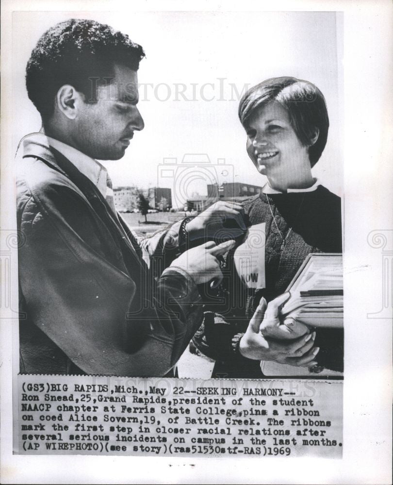 1969 Press Photo Ferris State College NAACP President - Historic Images