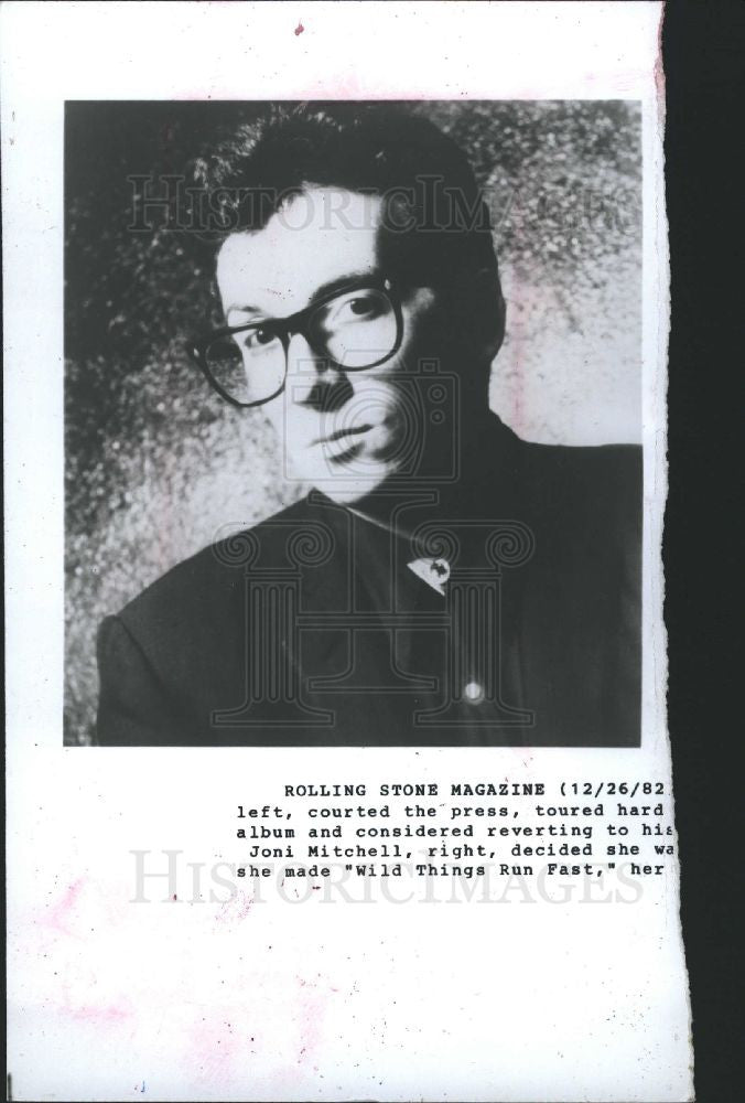 1982 Press Photo Elvis Costello English singer punk - Historic Images