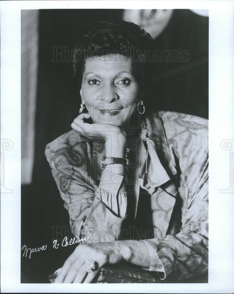 1987 Press Photo Marva Collins, American Educator. - Historic Images