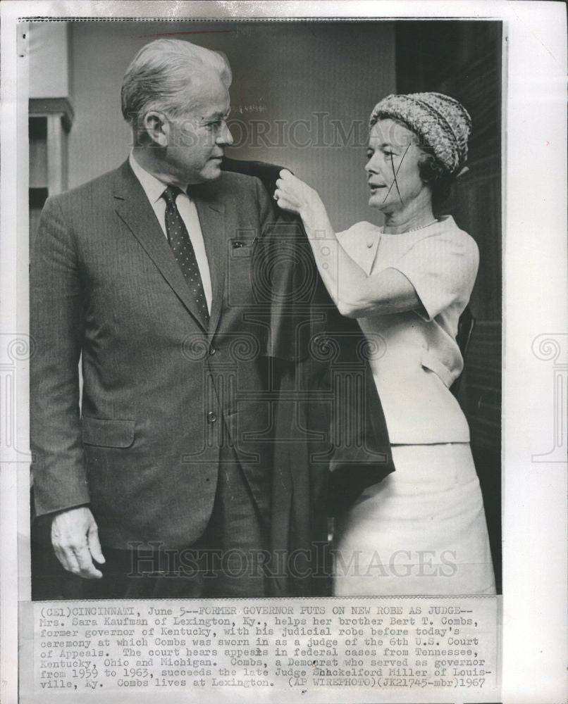 1967 Press Photo Sarah Kaufman bert t combs - Historic Images