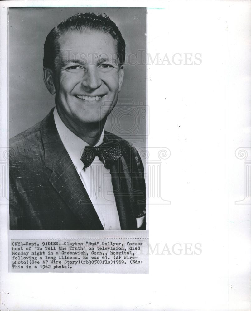 "1969 Press Photo Clayton ""Bud"" Collyer passes away - Historic Images"