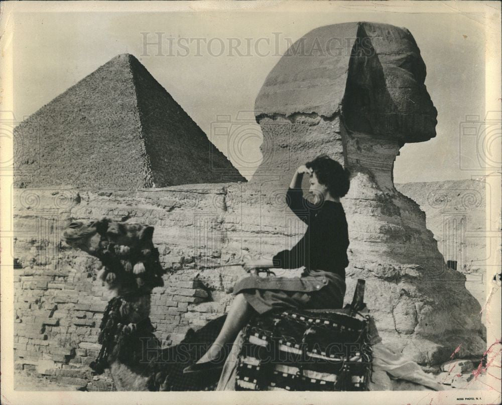 Press Photo Ephypt Sphinx pyramid woman traveller - Historic Images