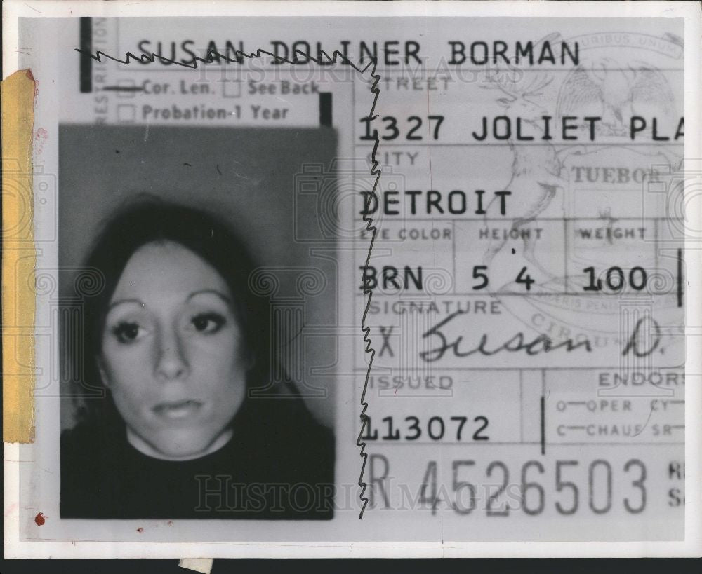 1975 Press Photo Stranger Pictured on Driver's License - Historic Images