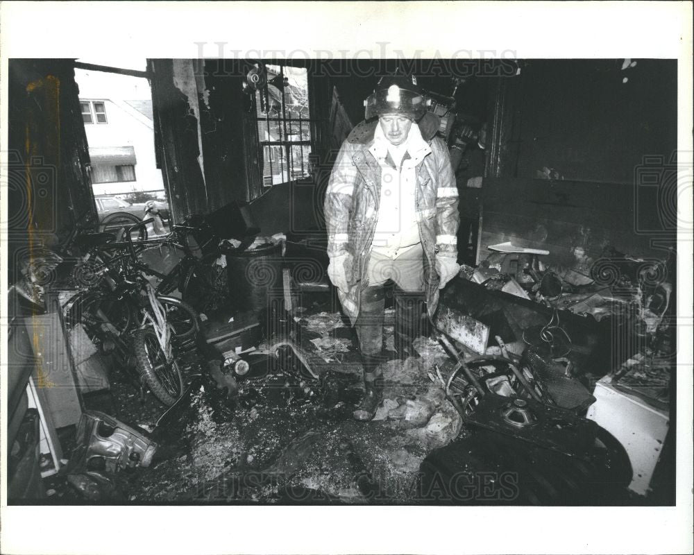 1993 Press Photo Detroit Fire Children Death House - Historic Images