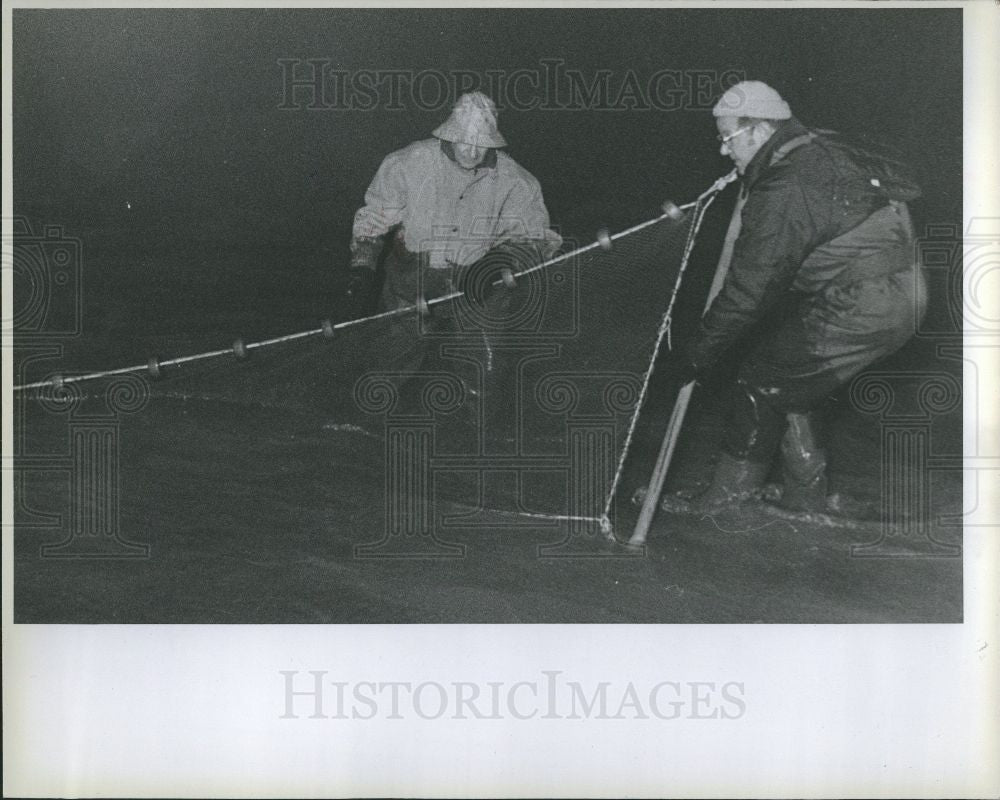1976 Press Photo Smelt Fish School Spawn Fishing Net - Historic Images