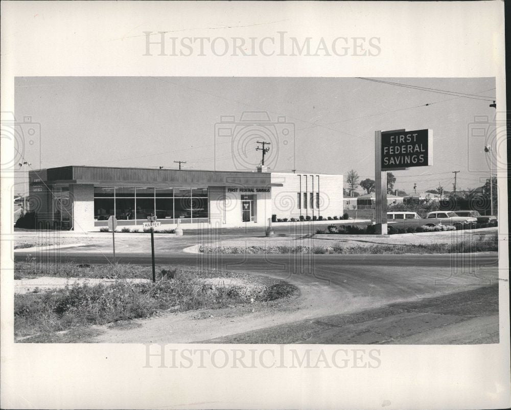 1958 Press Photo First Federal Bank St Clair Shores - Historic Images