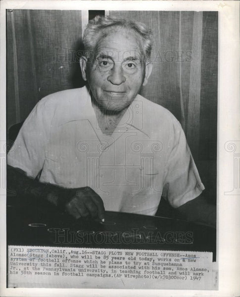 1947 Press Photo Amos Alonzo Stagg Susquehanna - Historic Images