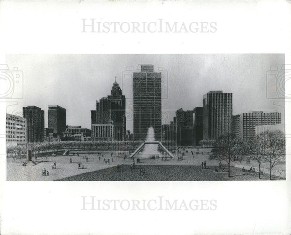 Press Photo Dodge Fountain Hart Plaza Detroit - Historic Images