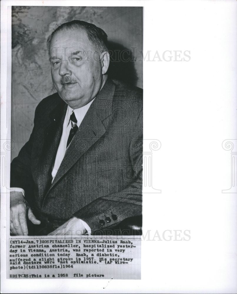 1964 Press Photo Julius Raab Austrian chancellor - Historic Images