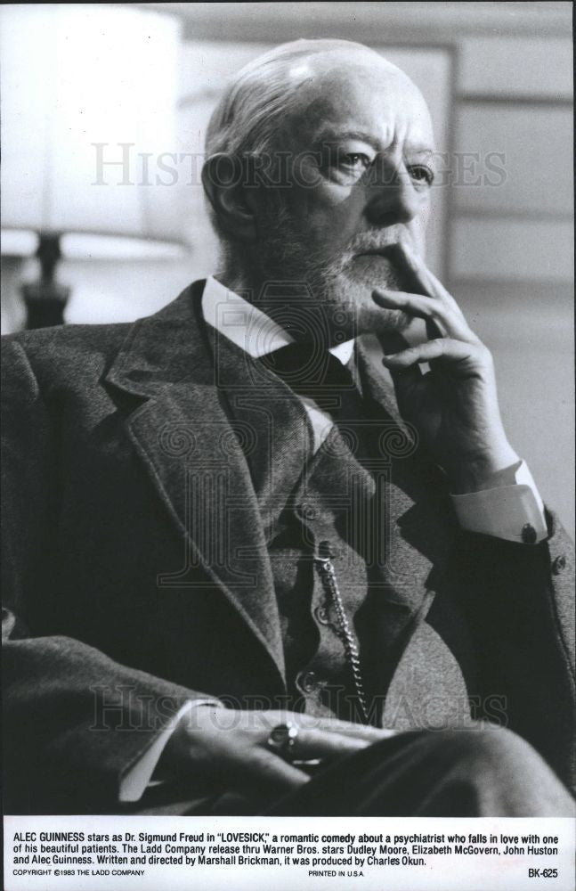 1983 Press Photo Alec Guinness English actor Lovesick - Historic Images